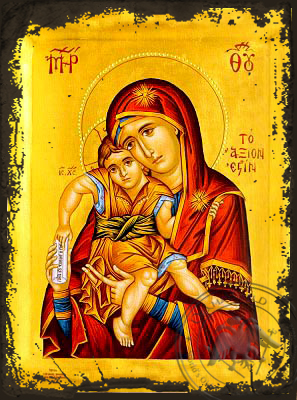 Virgin and Child, Axion Esti (It is Truly Meet) - Aged Byzantine Icon