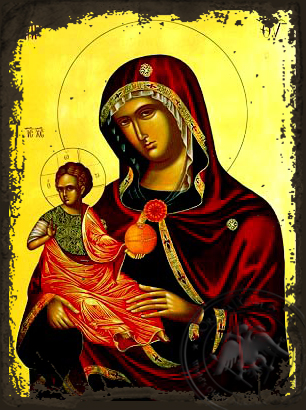 Virgin and Child, of Dion, Kephallenia, Greece - Aged Byzantine Icon