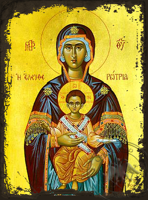 Virgin and Child, Eleutherotria - Aged Byzantine Icon