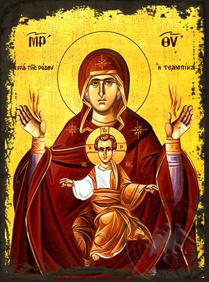Virgin and Child, Eleutherotria Tsampika - Aged Byzantine Icon