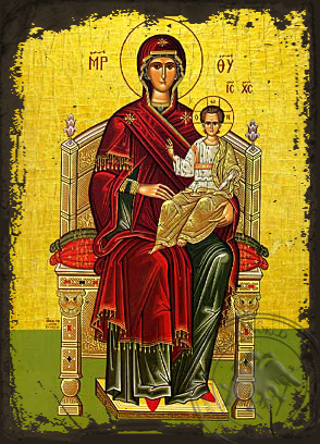 Enthroned - Aged Byzantine Icon