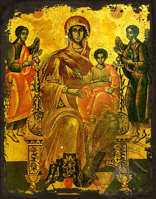 Virgin and Child, Enthroned, Platytera (More Spacious Than Heavens) - Aged Byzantine Icon