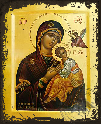 Virgin and Child, Formidable Protection - Aged Byzantine Icon