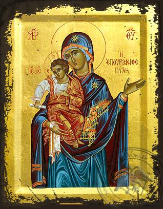 Panagia  The Celestial Portal - Aged Byzantine Icon