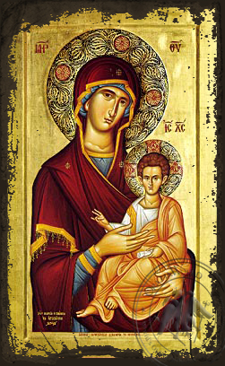 Virgin and Child, Hodegetria - Aged Byzantine Icon
