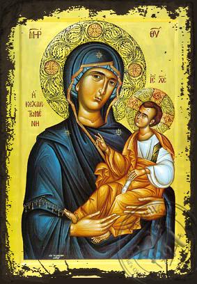Virgin and Child, Hodegetria, Full of Grace - Aged Byzantine Icon