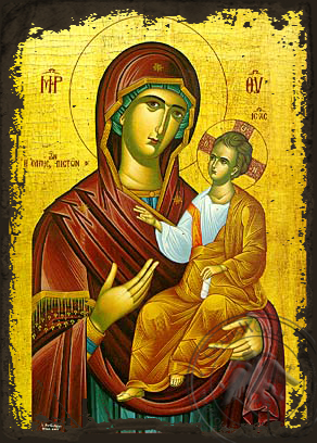 Panagia :The Hope of the Faithfull - Aged Byzantine Icon