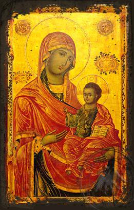 Virgin and Child, Hodegetria, Merciful - Aged Byzantine Icon