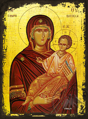 Panagia Spring of Myrrh - Aged Byzantine Icon