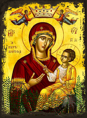 Virgin and Child, Hodegetria, of the Myrtle Tree - Aged Byzantine Icon