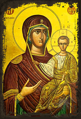 Panagia The Phaneromene - Aged Byzantine Icon