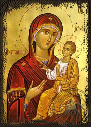 Panagia Portaitissa - Aged Byzantine Icon