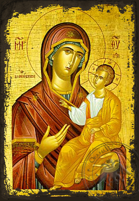 Panagia The Rescuer - Aged Byzantine Icon