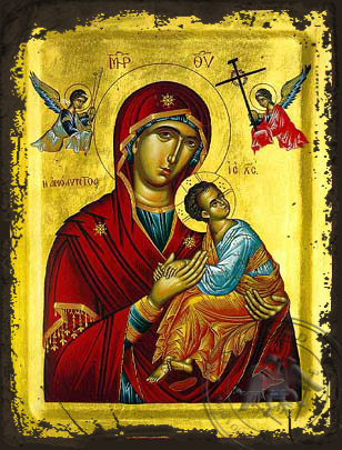 Virgin and Child, Immaculate - Aged Byzantine Icon