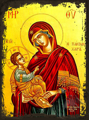 Virgin and Child, Joy of All - Aged Byzantine Icon