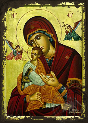 Virgin and Child, of the Passion, with Angels - Aged Byzantine Icon