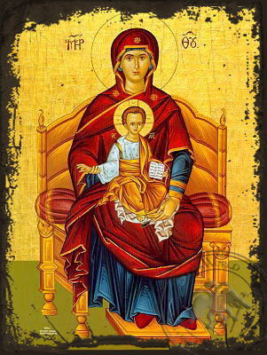 Virgin and Child, Platytera Enthroned - Aged Byzantine Icon