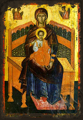 Panagia Lady of the Angels - Aged Byzantine Icon