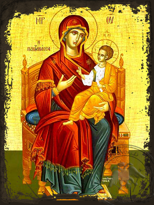 Virgin and Child, Queen of the Universe, Enthroned - Aged Byzantine Icon