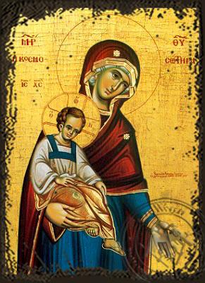 Panagia The Saviour of the World - Aged Byzantine Icon