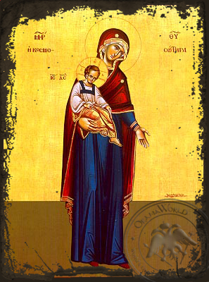 Virgin and Child, Saviour of the World, Full Body - Aged Byzantine Icon