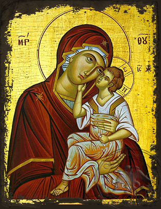 Virgin and Child, Sweet Kissing - Aged Byzantine Icon