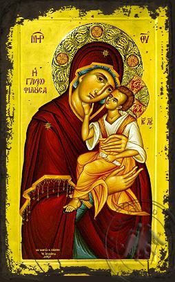 Panagia The Glykophilousa  - Aged Byzantine Icon