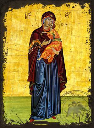 Panagia Glykophilousa  (Standing) - Aged Byzantine Icon