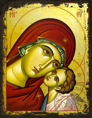 Virgin and Child, Sweet Kissing, Bust - Aged Byzantine Icon