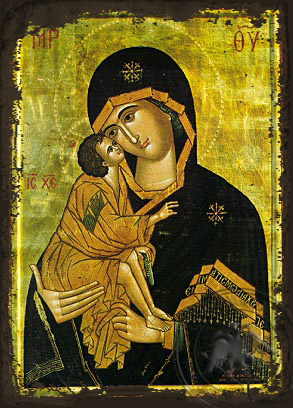 Virgin and Child, Sweet Kissing, of the Don - Aged Byzantine Icon