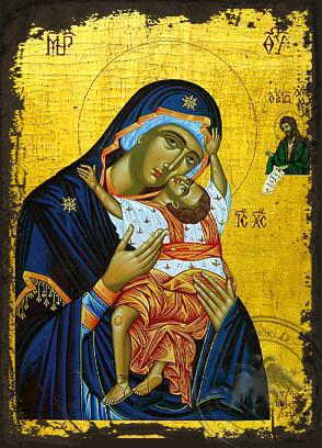 Virgin and Child, Sweet Kissing, Kardiotissa - Aged Byzantine Icon