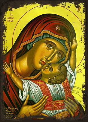 Panagia Glykophilousa  Kardiotissa - Aged Byzantine Icon