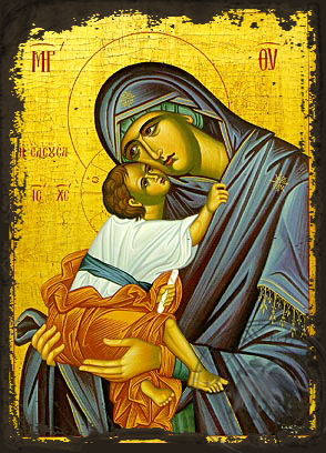Virgin and Child, Sweet Kissing, Merciful - Aged Byzantine Icon
