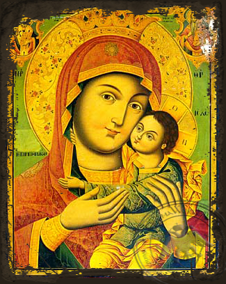 Virgin and Child, Sweet Kissing, Post byzantian, Bust - Aged Byzantine Icon