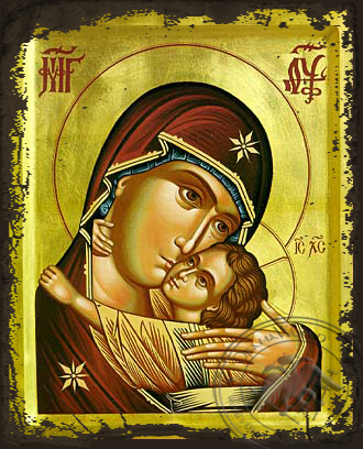 Panagia The Glykophilousa  Pskov - Aged Byzantine Icon