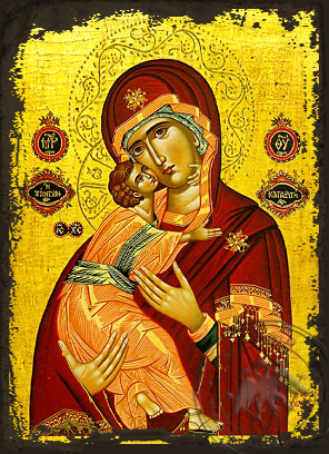 Virgin and Child, Sweet Kissing, Refuge of All - Aged Byzantine Icon
