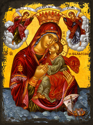 Virgin and Child, Sweet Kissing, of the Sea - Aged Byzantine Icon