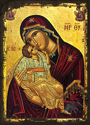 Virgin and Child, Sweet Kissing with Angels - Aged Byzantine Icon