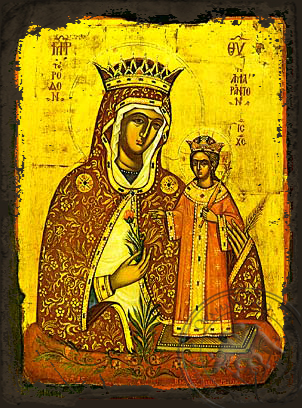 Virgin and Child, Unwithering Rose - Aged Byzantine Icon