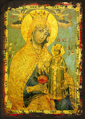 The Unwithering Rose - Aged Byzantine Icon
