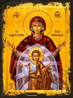 Virgin and Child,Platytera (More Spacious Than Heaven) - Aged Byzantine Icon