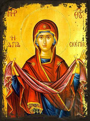 Virgin, Holy Skepe (Protection) - Aged Byzantine Icon