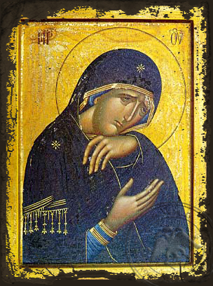 Panagia In Lament - Aged Byzantine Icon