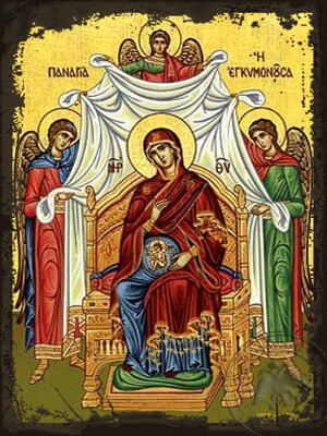 Virgin in Pregnancy Enthroned - Aged Byzantine Icon
