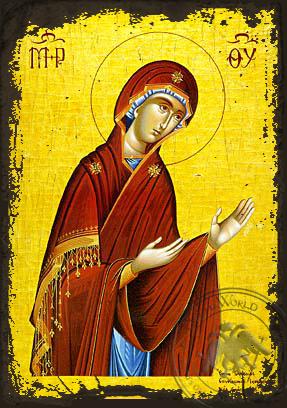 Virgin, Paraklesis - Aged Byzantine Icon