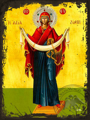 Virgin, the Placing of the Cincture, Full Body - Aged Byzantine Icon
