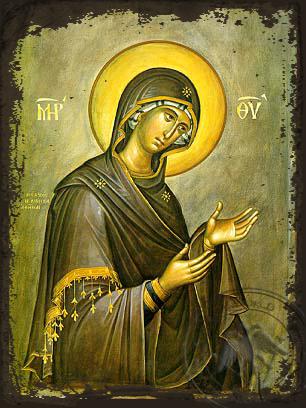 Virgin, Supplicating - Aged Byzantine Icon