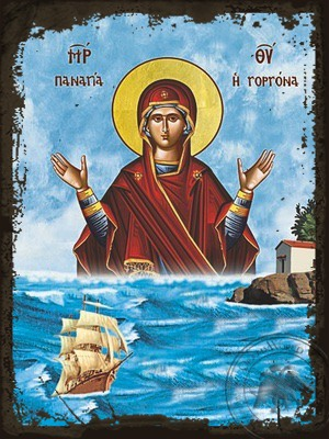 Virgin the Mermaid Rising From the Sea Waves - Aged Byzantine Icon