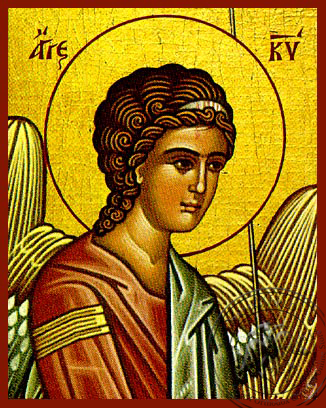 Angel of the Lord, Detail (Left) - Hand Painted Icon