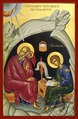 Apostle and Evangelist Saint John the Theologian with Saint Prochorus the Apostle, in Cave, Full Body - Hand Painted Icon